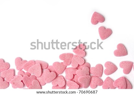 Pink hearts with white background - stock photo