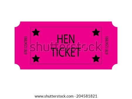 Pink Hen Ticket - stock photo