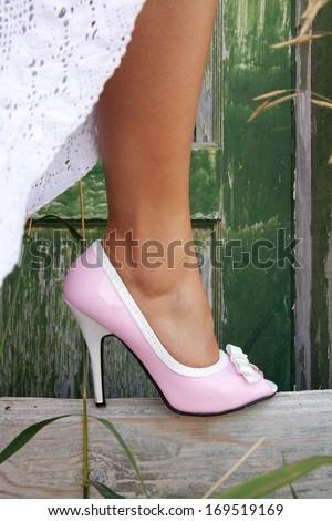 Pink High Heel - stock photo