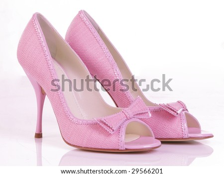 pink high heel shoes - stock photo