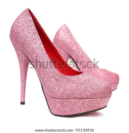 Pink high heels pump shoes - stock photo