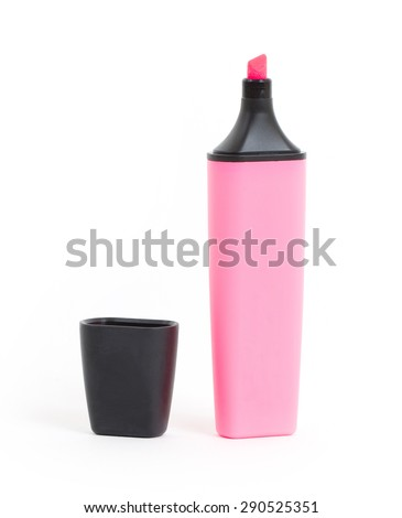 Pink highlighter isolated over a white background - stock photo