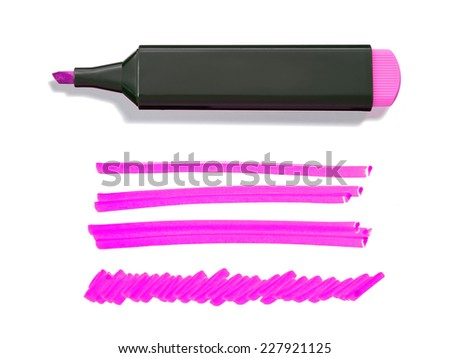 Pink Highlighter Pen and Doodles Isolated on White Background with Real Shadow and Text Space - stock photo