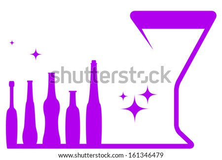 pink holiday symbol - wineglass and alcohol bottle  - stock photo