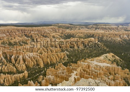 pink hoodoos  and pine trees  of Fairyland Point at Bryce National Park, Utah, USA