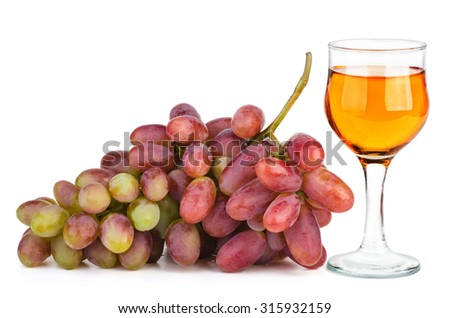 Pink husain grape and glass of white wine isolated on white background - stock photo