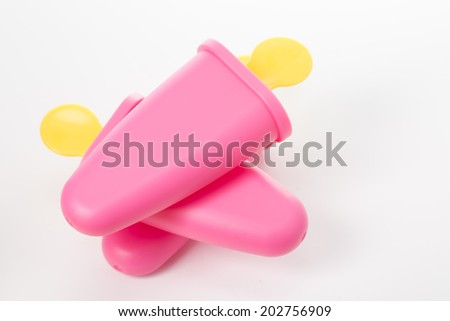 Pink Ice cream maker isolated with white background