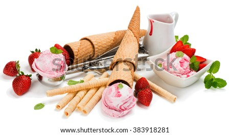 Pink ice cream of strawberry, fresh berries  and sauce, isolated on white background. - stock photo