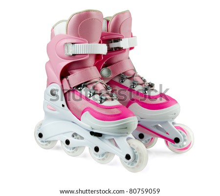 Pink inline rollerskates isolated on white - stock photo