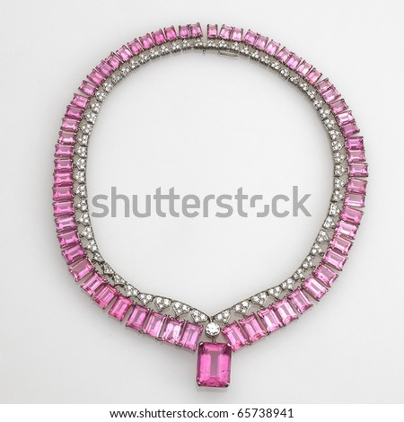 pink jewels and diamond necklace isolated on white - stock photo