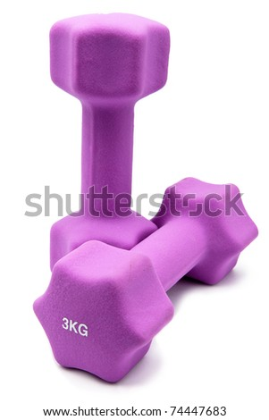Pink 3 kg dumbbells in a neoprene cover - stock photo