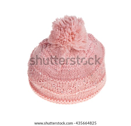 Pink knitted cap. Isolate on the white background. - stock photo