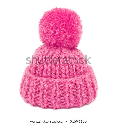 pink knitted hat - stock photo