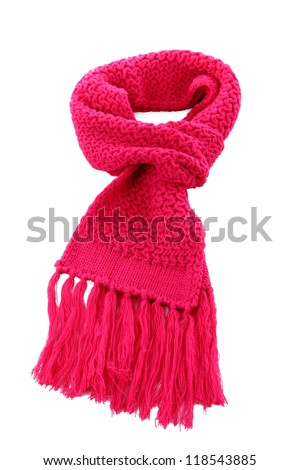 Pink knitted scarf isolated on white - stock photo