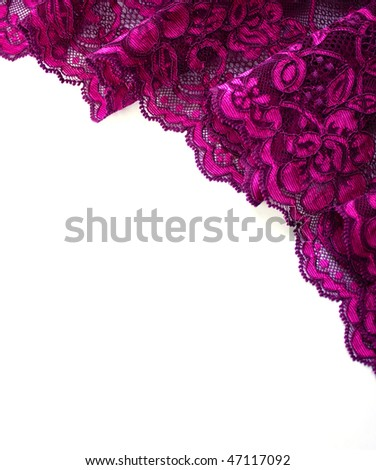 Pink lace border isolated on white - stock photo