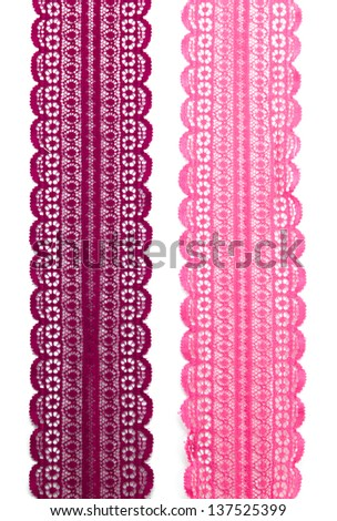 Pink Lace Fabric on white background - stock photo