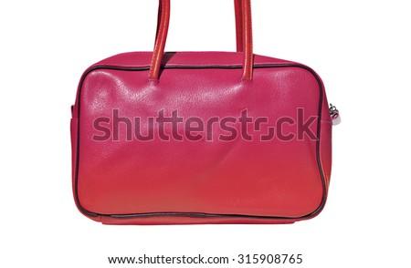 Pink ladies handbag genuine leather - stock photo