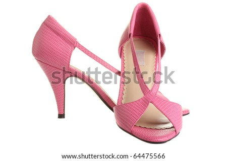 Pink ladies pumps, isolated on a white background.