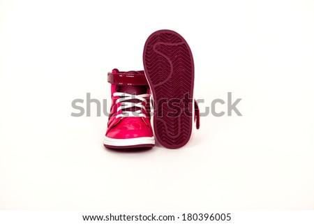 Pink ladies women's sport fashion sneaker trainer shoe - stock photo