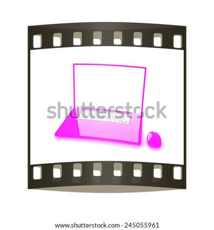 Pink laptop on a white background. The film strip - stock photo