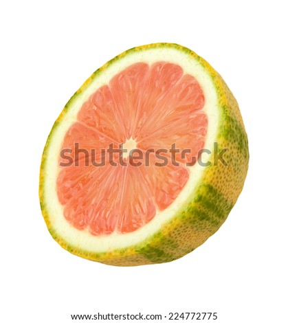 Pink Lemon Slice isolated on a white background. Pink lemons are variegated, with green stripes on the outside, and a rose hued pink flesh inside. They belong to the Eureka lemon family. - stock photo