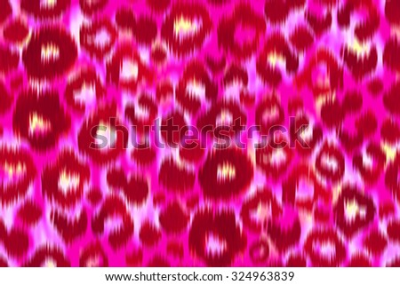 Pink Leopard skin pattern. Vivid magenta Leopard Animal Seamless on a pink background. Leo Spots of Animals painted traditional ikat ornament. Watercolor markers drawing.  - stock photo