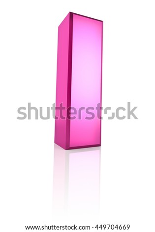 Pink letter I isolated on white background. 3d rendering - stock photo