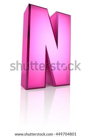 Pink letter N isolated on white background. 3d rendering - stock photo