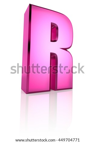 Pink letter R isolated on white background. 3d rendering - stock photo