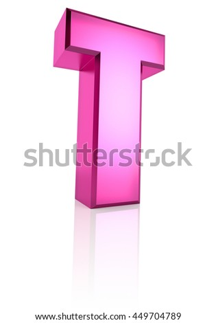 Pink letter T isolated on white background. 3d rendering - stock photo