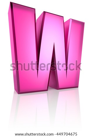 Pink letter W isolated on white background. 3d rendering - stock photo