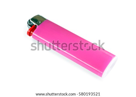 pink lighter plastic - isolated
