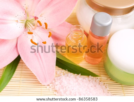 Pink lily, sea salt, massage oil and cream