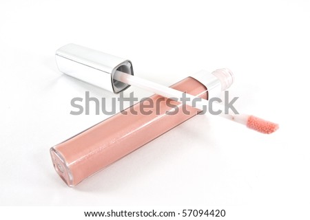 Pink lip gloss - stock photo