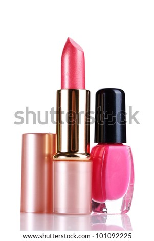 Pink lipstick and nail polish isolated on white - stock photo