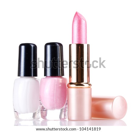 Pink lipstick and nail polish isolated on white