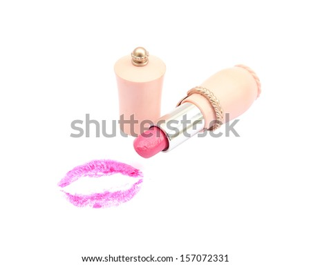 pink lipstick with a kiss on white background  - stock photo