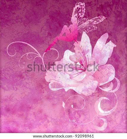 pink little flower fairy on the dark magenta spring or summer grunge background - stock photo