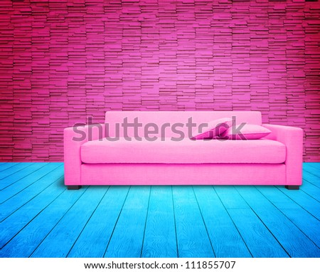 Pink Livingroom Pink Sofa On Blue Stock Photo (Royalty Free ...