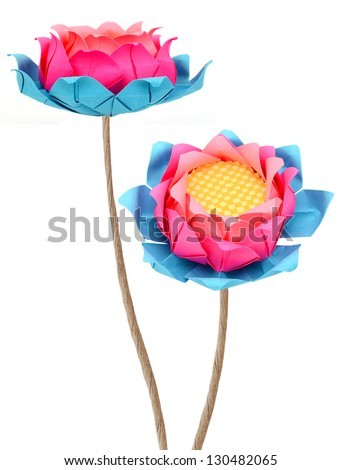 Pink lotus origami branches isolated white - stock photo