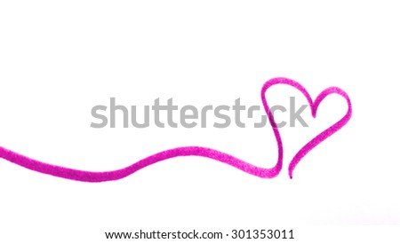pink love heart banner - stock photo