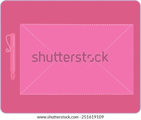 pink love letter for Valentine day - stock photo