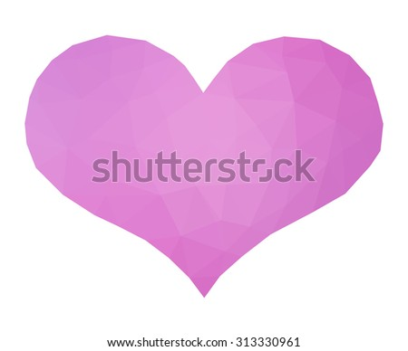 Pink low poly heart - stock photo