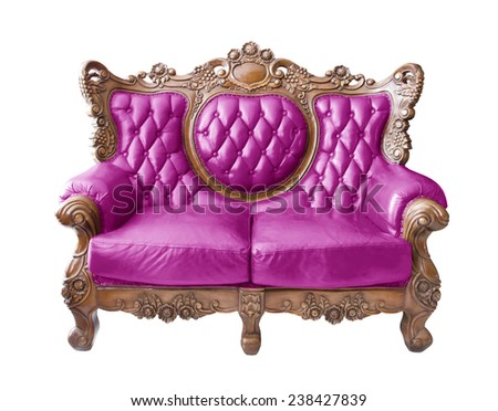 Pink Luxurious sofa on white background. clipping path. - stock photo