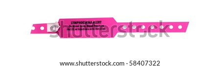 pink lymphodema alert band - stock photo