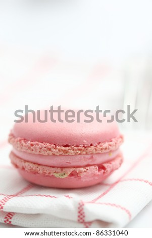 Pink Macaron in close up isolated on white background - stock photo