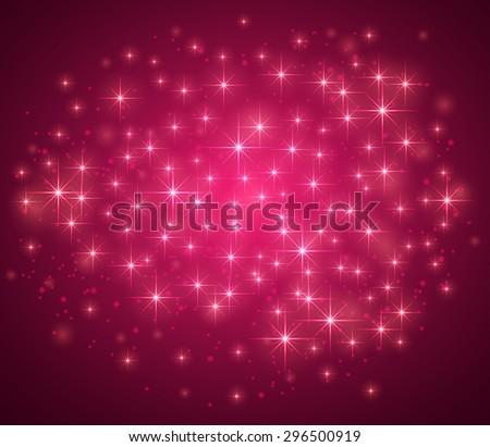 Pink magic background with sparkle stars and blurry lights, illustration. - stock photo