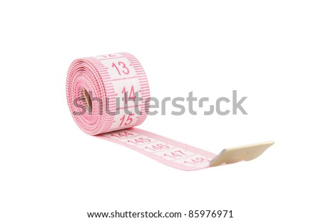 Pink measuring tape isolated on white background