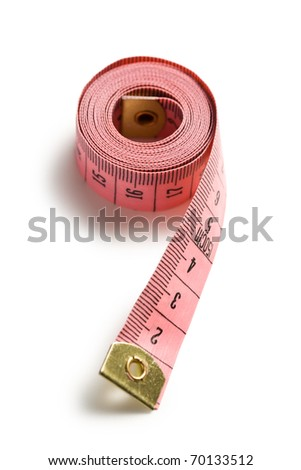 pink measuring tape on white background - stock photo
