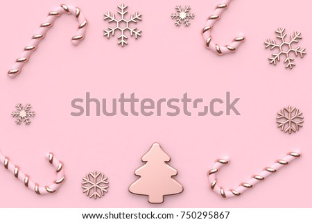 Pink Metallic Glossy Rose Gold Christmas Holiday New Year Concept Minimal Background Abstract